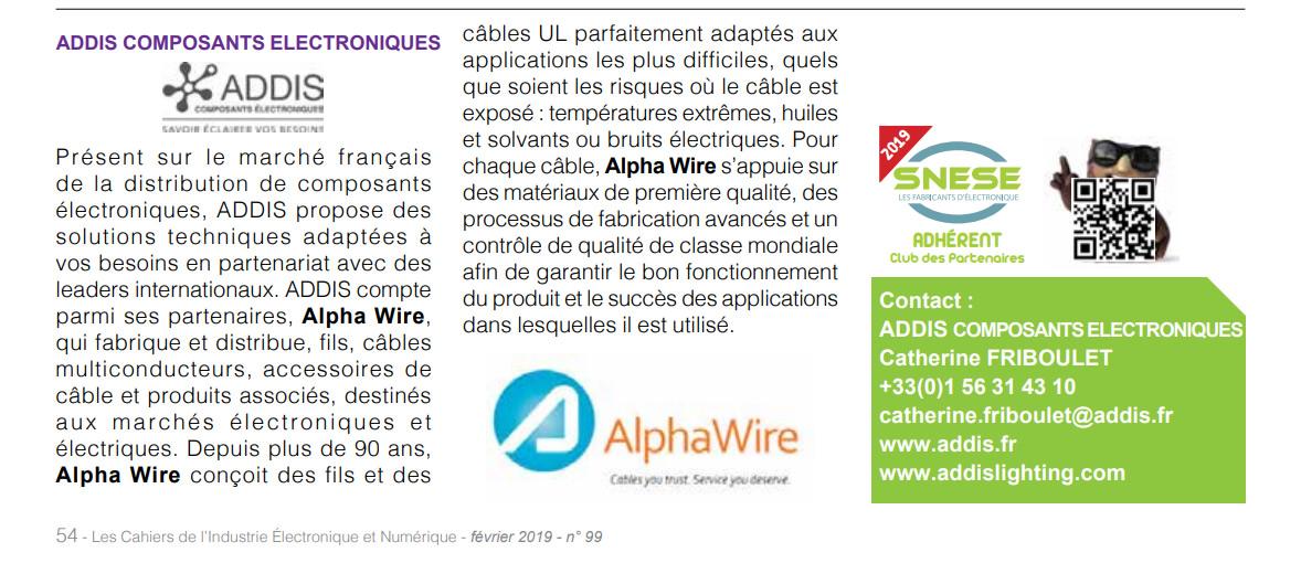 Addis dans Les Cahiers de l'Industrie Electronique et du Numérique n° 99 de Février 2019